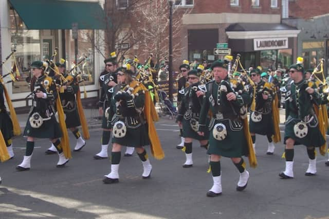 Bagpipe players and drummers lead the procession in the annual Tarrytown/Sleepy Hollow St. Patrick's Day Parade Sunday.