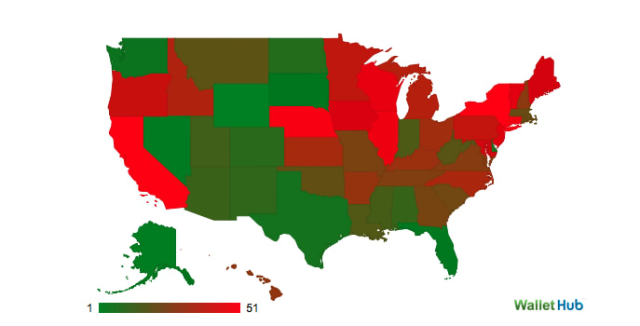 Connecticut was recently ranked the fourth worst state to live in as a taxpayer. The redder a state, the higher a tax burden. Green means a lower tax burden.