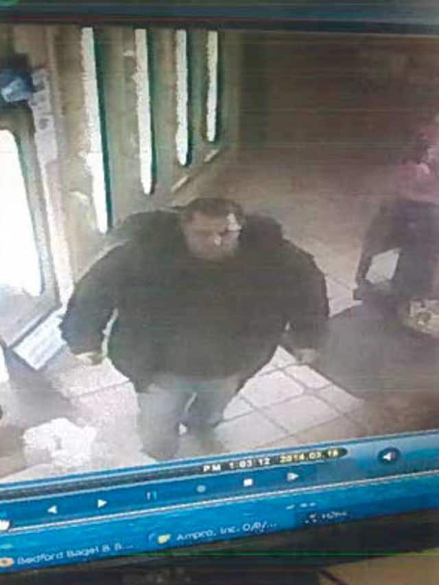 Bedford Police are seeking the publics assistance in tracking down a suspect who stole a donation jar recently.