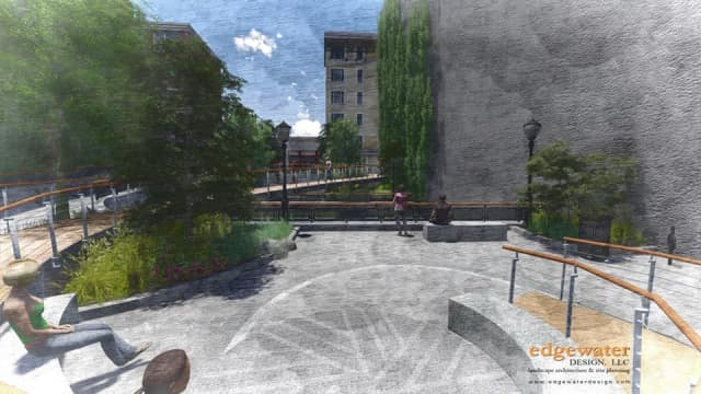 Design renderings of the new public courtyard on Mill Street in Yonkers.