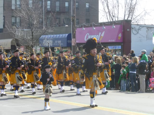 Marchers take part in the Yonkers St. Patrick's Day Parade.