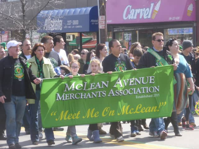 The McLean Avenue Merchants Association marches in the Yonkers St. Patrick's Day parade.