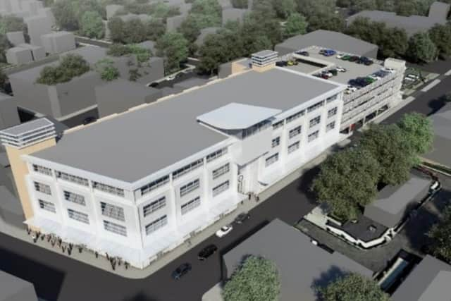 A 3D model of the proposed Municipal Center that village officials are contemplating building in downtown Port Chester.