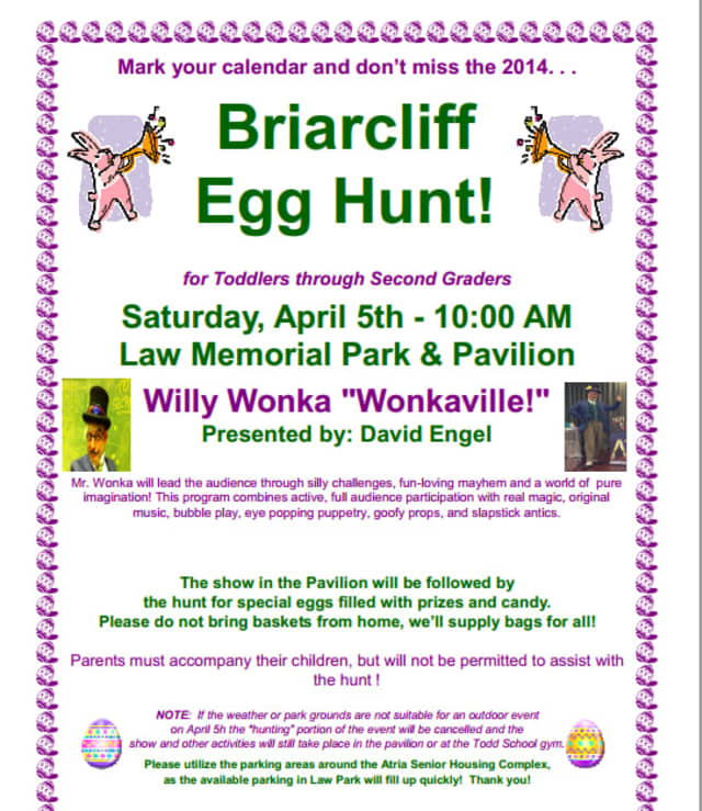 Families are invited to bring children who are toddlers through second grade for the annual Briarcliff Egg Hunt.