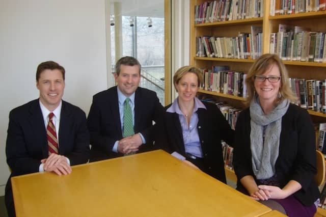 William Hambelton, Colm MacMahon, Lisa Damour and Colleen Pettus at the School of the Holy Child in Rye.