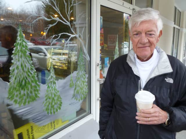 Herbert Weiss grabs a coffee while at the Somers Town Shopping Center Friday.