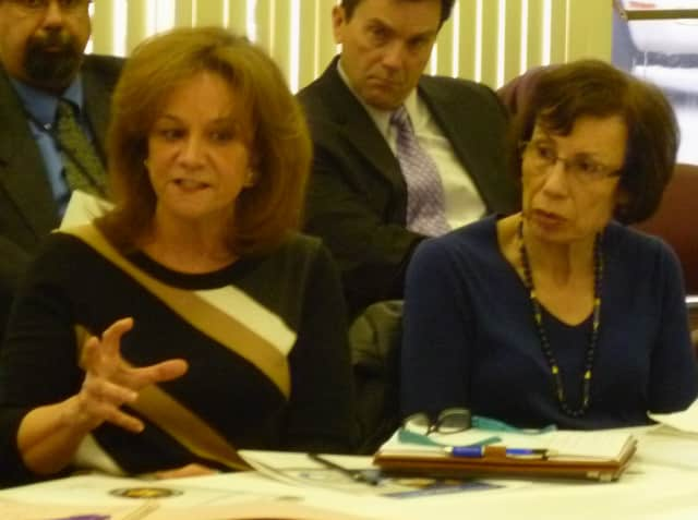 Laurie Dean (left), coordinator for Croton Community Coalition, talks while Nan Miller, coordinator for Mount Kisco Partners in Prevention, looks on.