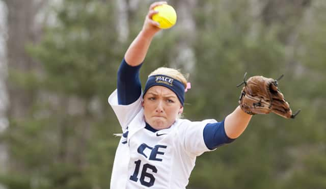 Freshman  Caitlin McCann tossed five shutout innings in the defeat against the New Haven Chargers on Tuesday, April 8.