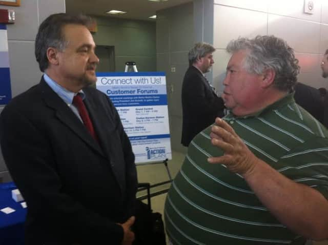 Metro-North President Joseph Giulietti, left. U.S. Sen. Charles Schumer called on Giulietti to investigate communications, staffing and other issues after a fire May 17 that disrupted service.