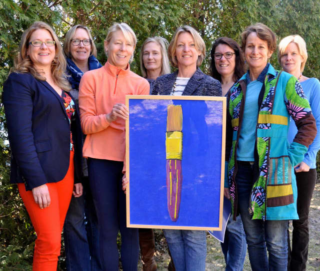 The 2014 Darien Art Show and Sale Committee; DAC executive director Amy Allen, Art Show chairman, Sarah Ritchey, Jolanda Sutherland, Lisa Thoren, (back row) Meg Tweedy, Mindy Green, Beth Cherico and Ann Laczko.
