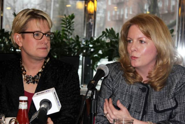 Assistant Superintendent for Curriculum Annie Ward, left, and Teacher Colleen Melnyk spoke about the issues.