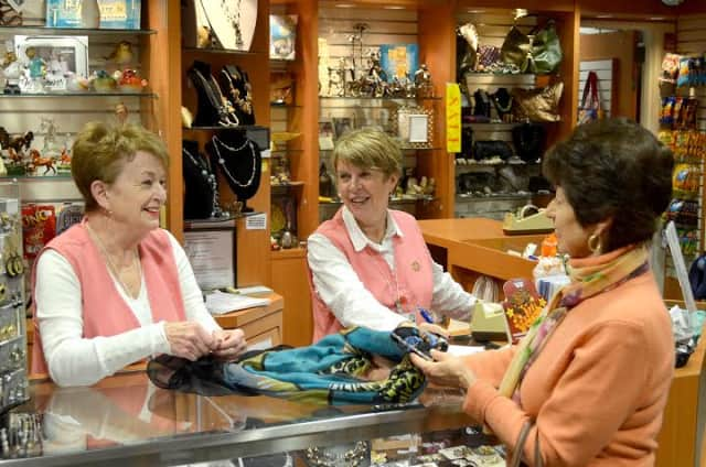 Lila Jacobson, left, of Ossining and Judy Taussik, right, of Briarcliff Manor are volunteers at the Phelps Memorial Hospital Center gift shop.