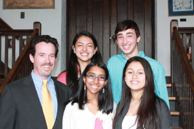 Back row: (from left to right) Audrey Merchan '15, Zachary Karpen '15; Front row: (from left to right) Head of School Matt Byrnes, Drishti Choudhury '15, Isabella Santos '15 after receiving their positions as Wooster School prefects.