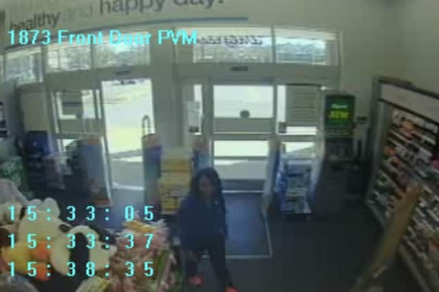 Surveillance footage of one of the two women accused of shoplifting at the Walgreens on Heights Road in Darien.