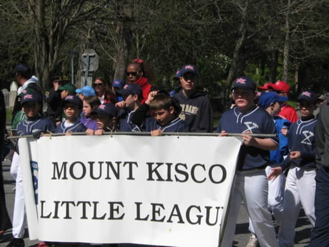 Mount Kisco Little League players, pictured at a past year's parade.