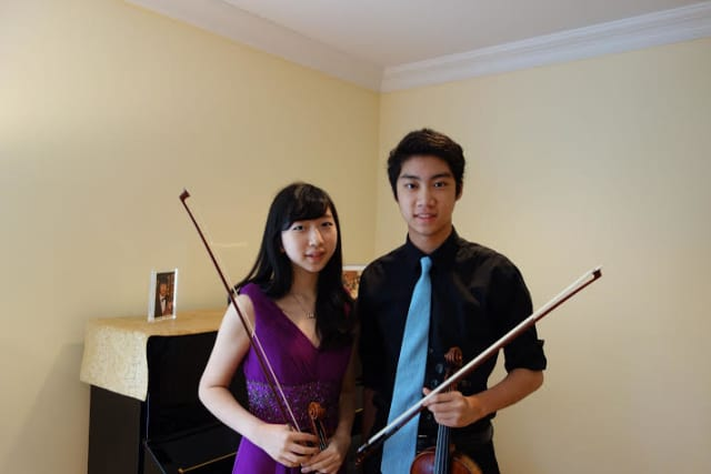 Scarsdale High School violinist Alan Yao, shown here with violinist Naoko Nakajima, has been selected for the Carnegie Hall National Youth Orchestra.