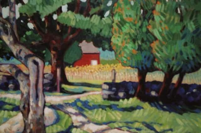 """Dimitri's Day,"" a view of Weir Farm is Wilton, is an acrylic on canvas by Bobbi Mullen of Weston, one of the exhibitors featured in ""The Celebration of Trees."""