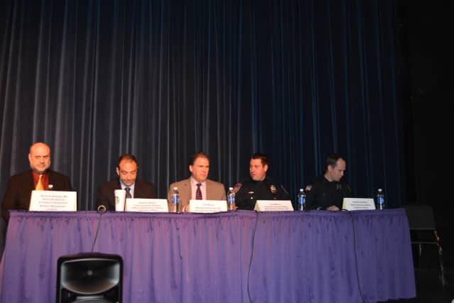 Left to right: Panelists David Zuckerberg, Anthony Molea, Tom Riccio, Kris Marco and Andrew Llewellyn. Marco is with enforcement for the county's Taxi and Limousine Commission, while Llewellyn is John Jay's school resource officer.
