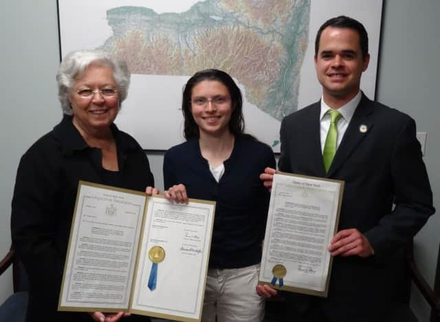 Assemblywoman Sandy Galef and Sen. David Carlucci honored Briarcliff High's Caroline Pennacchio for becoming a distinguished finalist in the 19th annual Prudential Spirit of Community Awards.