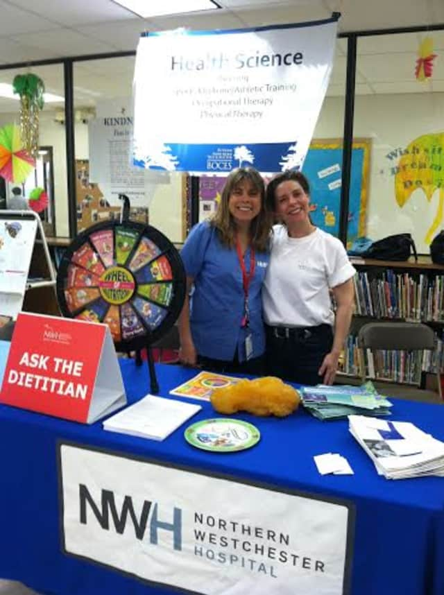 Northern Westchester Hospital's Elisa Bremner, RD, and Ellen Muetener, Director of Volunteers, at the Putnam/Northern Westchester BOCES Career Fair on Tuesday.