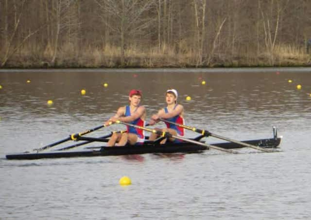 Pound Ridge's Liam McDonough, right, won the varsity double in Mercer, N.J. for Norwalk River Rowing.