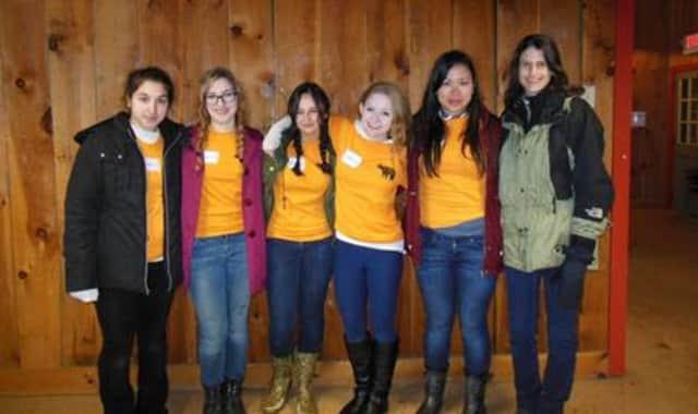 From left, Hastings High School teacher Melissa Shandroff and students Veronica Erdman, Miranda Mitchell, Clara Weinstein, Ariadne Bazigos and Alexandra Bazigos.