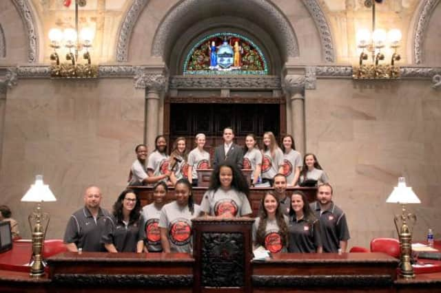 The Ossining High School Girls' basketball team went to Albany to receive recognition from the state Senate