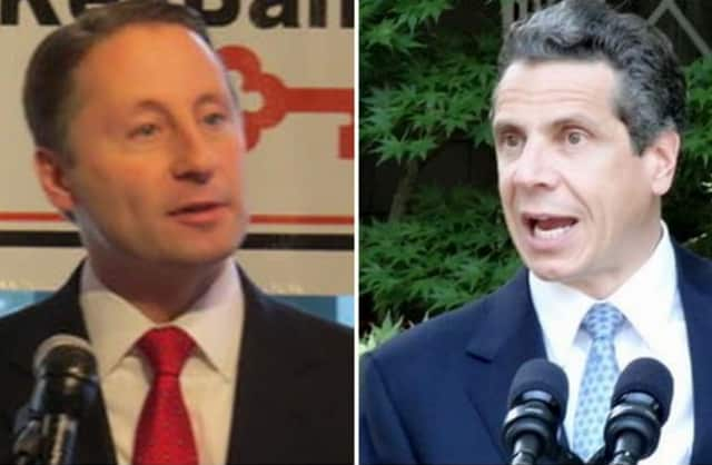 Rob Astorino, left, released his first ad, asserting that Gov. Andrew Cuomo's housing plan would lower property values in Long Island.