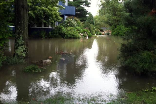 Flooding in the Saugatuck Shores area of Westport after a storm.