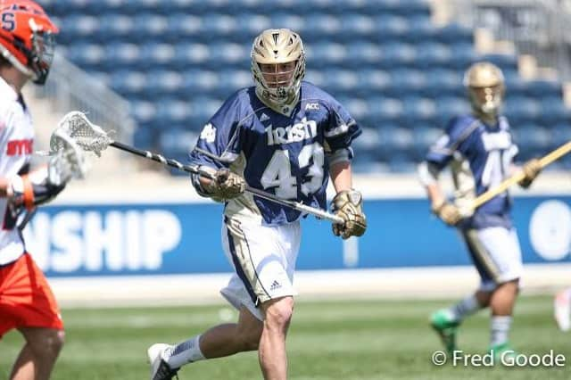 Pelham Memorial graduate Matt Landis, a sophomore defenseman, has been a key member for Notre Dame's men's lacrosse team.