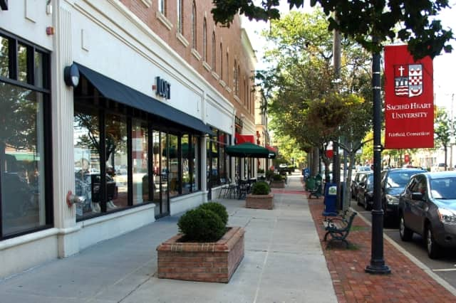 Fairfield's pleasant downtown attracts potential students to Fairfield and Sacred Heart universities.
