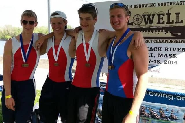 Norwalk River Rowing's gold medal quad was, from left, Kris Petreski of Pound Ridge, Liam McDonough of Pound Ridge, Greg Bauerfeld of Wilton and Taylor Stauffer of Darien.