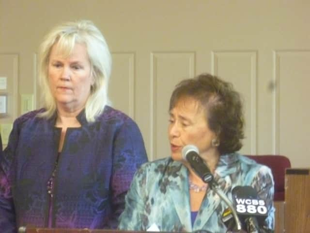 Cortlandt Supervisor Linda Puglisi and U.S. Rep. Nita Lowey at a press conference advocating more resources to combat heroin.