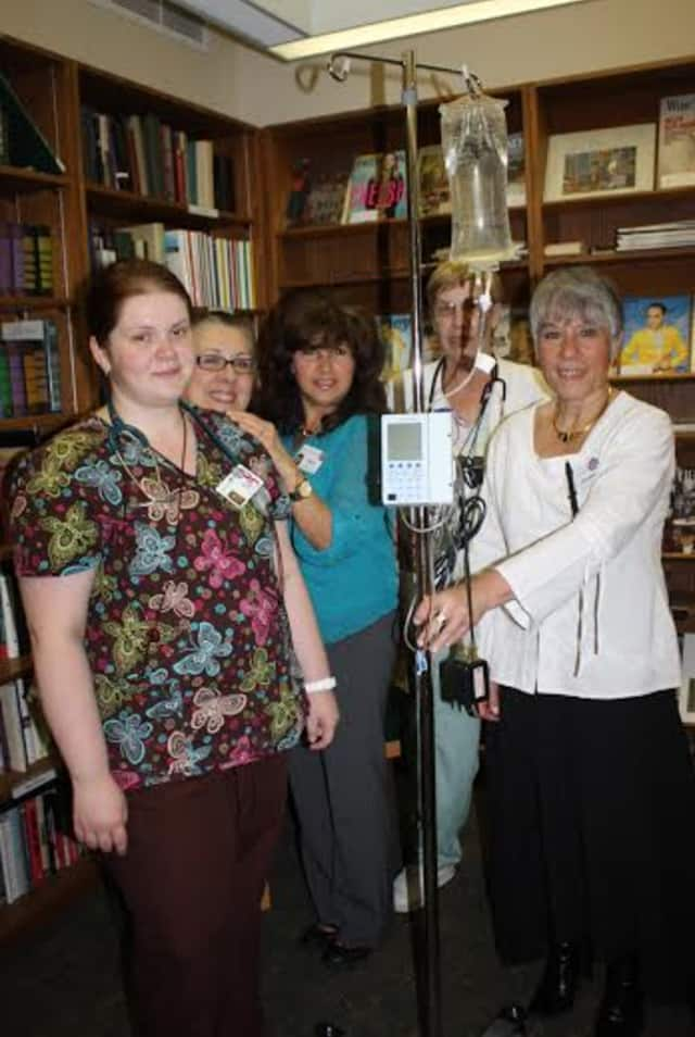 Waveny Care Center prepares to launch a new IV program. From left are Advija Dedic, LPN, Laurie Knowles, RN; Mary DiPaola, RN, assistant director of nursing; Cy Walters, RN, and Donna Sammarino, RN, director of nursing.