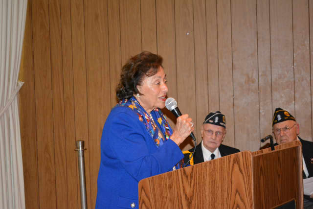 Rep. Nita Lowey speaks at Mount Kisco's 2014 Memorial Day service.