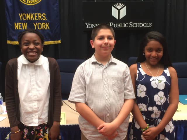 Lizbeth Morel of School 16 earned first place in the Yonkers Spelling Bee. Kleanthis Plakas of School 21 earned second place and Jessica Abu of Hudson View Christian Academy placed third.