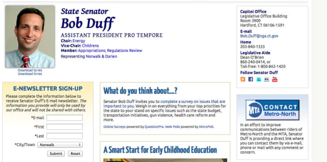 State Senator Bob Duff has provided a link on his website that will allow residents to contact Metro-North.
