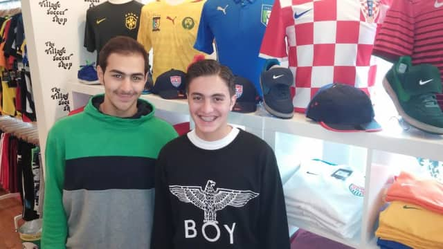 World Cup fans Faisal Al-Fahan, left, and Muhammad Alymany, both students at the EF Academy in Tarrytown, were buying soccer gear at The Village Soccer Shop in Tarrytown.
