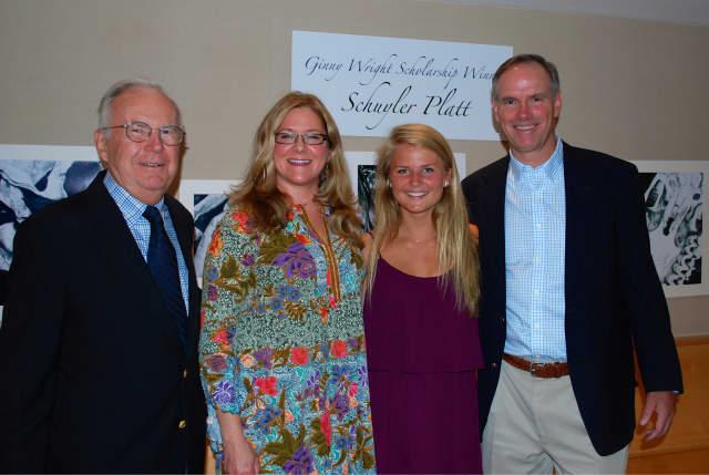 Schuyler Platt (second from right) is awarded the Ginny Wright Scholarship from the Darien Arts Center.