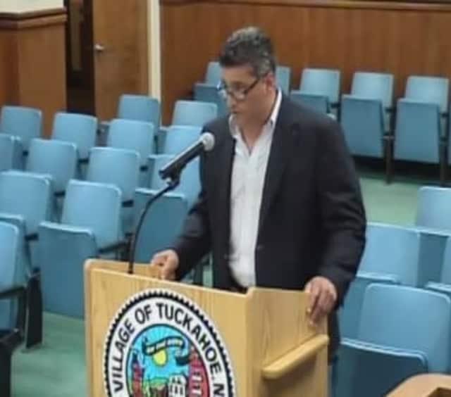 Tuckahoe General Foreman Frank DiMarco addressing the trustees.