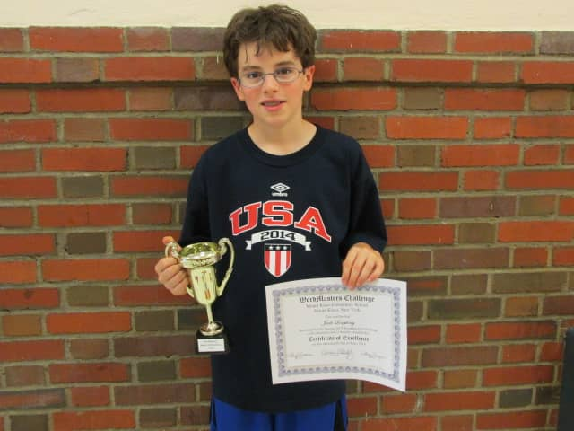 Jack Loughney, Mount Kisco Elementary School fourth-grader, earned top honors at Wordmasters Challenge.