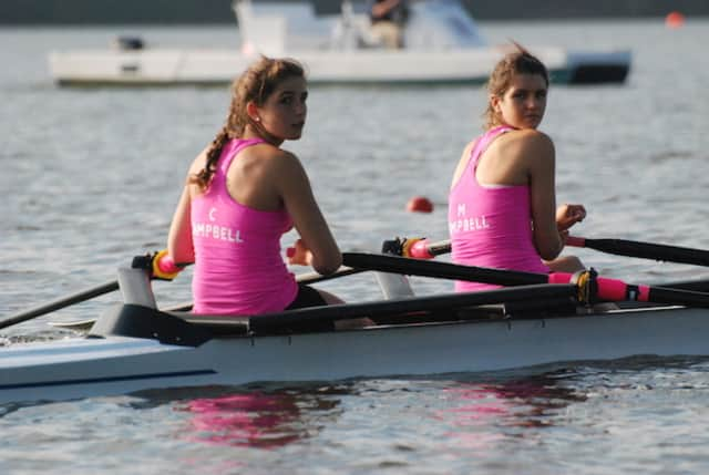 New Canaan's Mary and Claire Campbell won the junior women's double sculls Wednesday at the 2014 Junior World Championships Trials on Mercer Lake in New Jersey. The represented Norwalk-based Maritime Rowing Club.
