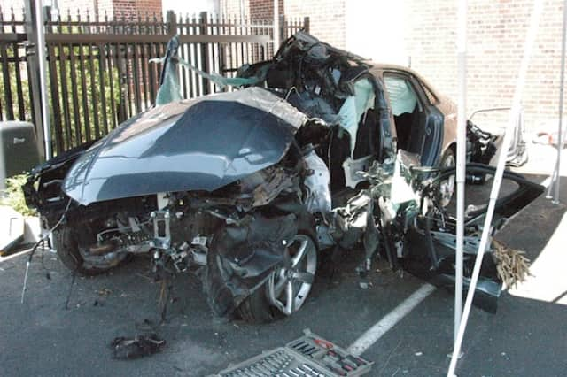 The wreckage of a 2015 Audi that was totaled in a June 9 crash which critically injured a 33 year-old Darien man.