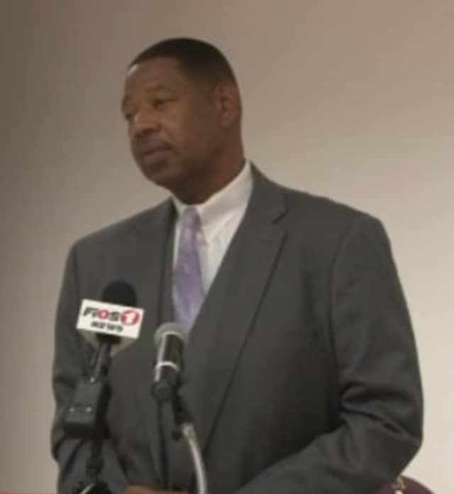 New Mount Vernon Superintendent Ken Hamilton at his introductory press conference.