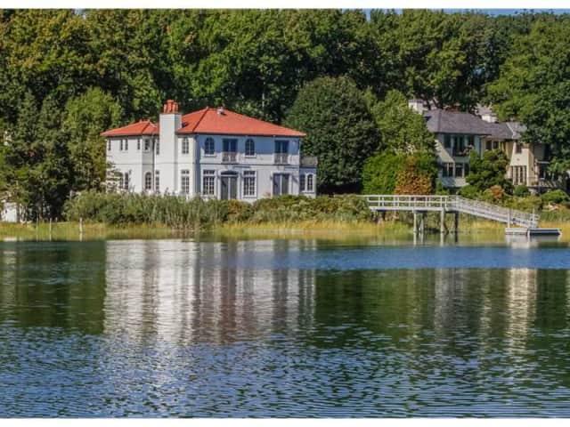 The home at 12 Runkenhage Road is Darien has stunning waterfront views.