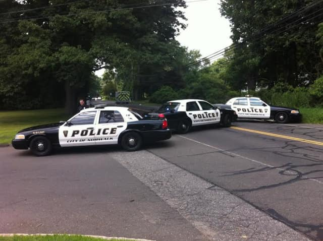 West Rocks Road in Norwalk is blocked by police cars on Tuesday afternoon.