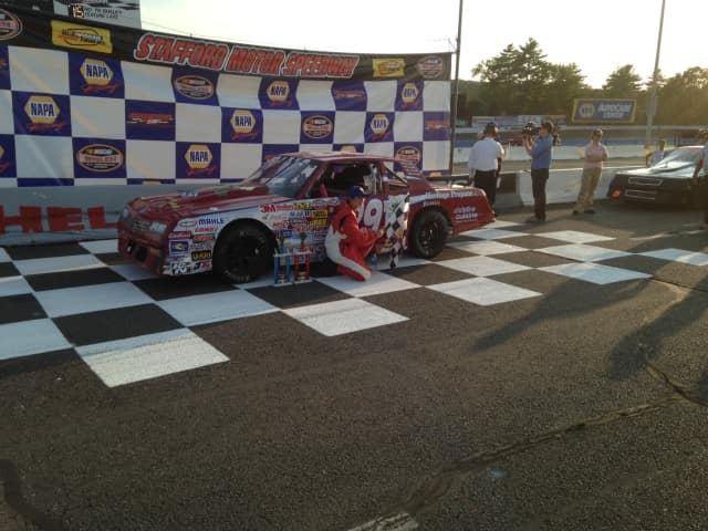 North Salem High School sophomore Trace Beyer wins his first dare stock race at Stafford Motor Speedway.