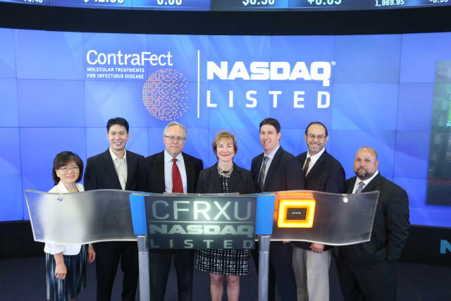 "Yonkers biotech company Contrafect officially went public Tuesday, July 29, as part of the NASDAQ Capital Market under the ticker symbol ""CFRXU."""