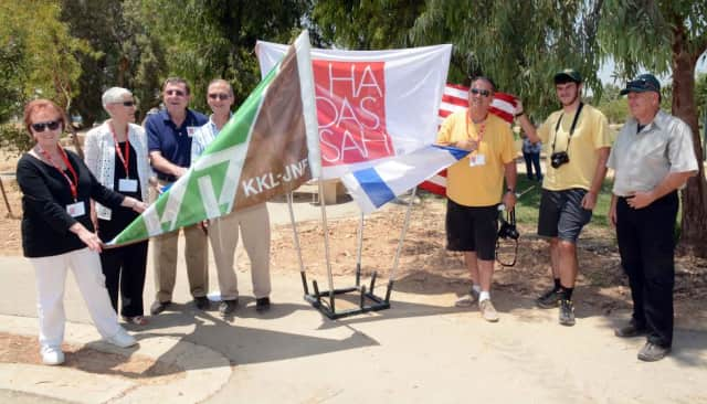 A group representing Hadassah Solidarity Mission planted trees in Israel to honor fallen soldiers in the recent conflict.