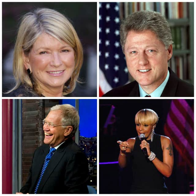 Clockwise: Martha Stewart, Bill Clinton, David Letterman and Mary J. Blige